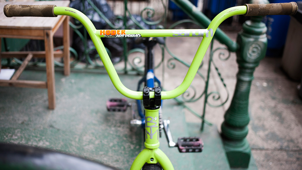 "S+M BIKES 9/"" HODER HIGH BAR TRANS BLUE BICYCLE HANDLEBAR"